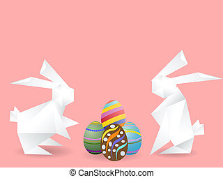 paper rabbits with easter eggs