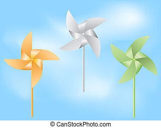 paper windmill in blue sky