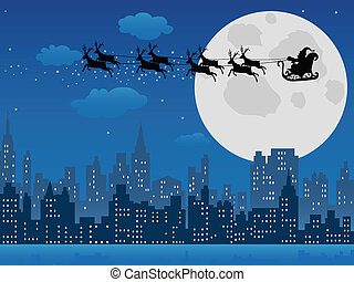Santa's sleigh over urban skyline