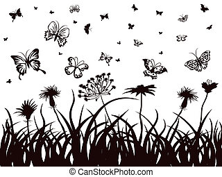 butterflies, flowers and grass