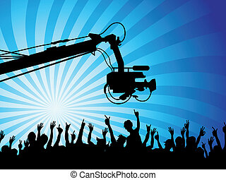 tv camera with crowds - the background of tv camera with...