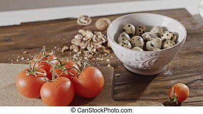 The background with natural ingredients for salad cooking -...