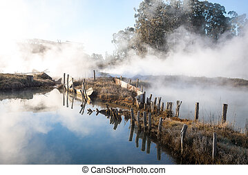 the background with river in fog