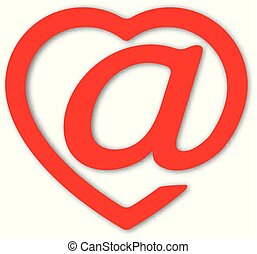 The badge of e-mail stylised under heart