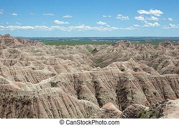 The Badlands National Park in South Dakota.