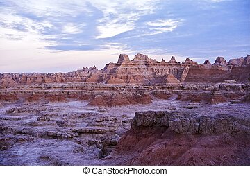 The Badlands Wilderness. The Badlands Wilderness is located in the U.S. State of South Dakota. Sunset in the Badlands - Horizontal Photography. U.S. National Parks Photo Collection