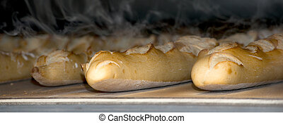 baguettes French bread cooked in the oven