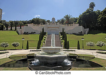 The Bahai gardens in Haifa, Israel - The Bahai temple and...