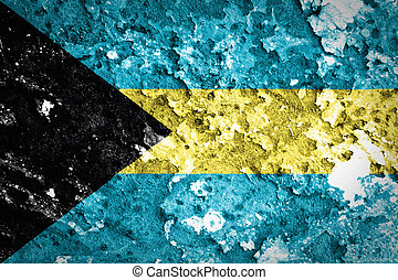 The Bahamas flag painted on grunge wall