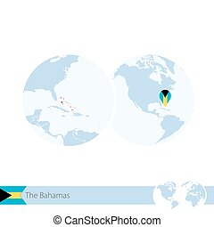 The Bahamas on world globe with flag and regional map of The...