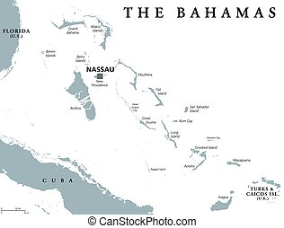 The Bahamas political map