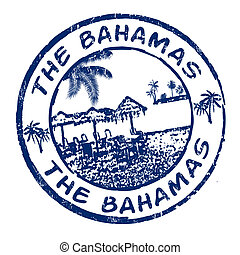 The Bahamas stamp - Blue grunge rubber stamp with the name...