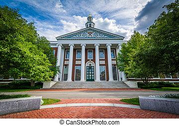 The Baker Library, at Harvard Business School, in Boston, Massachusetts.