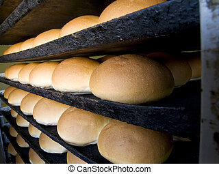 Bread in a bakery hot out of the oven