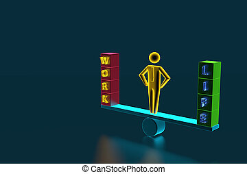 Figurine of a businessman standing on the scales, on the one hand work, on the other hand life. 3D rendering