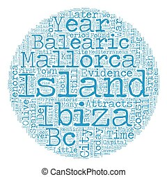 The Balearic Islands text background wordcloud concept