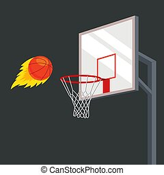 the ball flies into a basketball basket with great force.