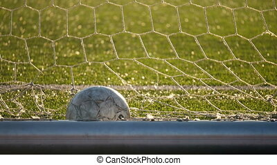 The ball lies in the football goal, soccer championship