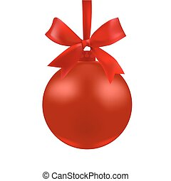 The ball of red color with a bow. illustration