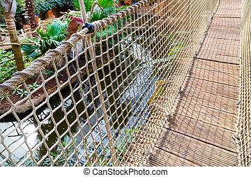 The bamboo rope bridge
