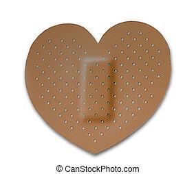 The Bandage of heart isolated on white background
