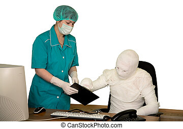 The bandaged boss and nurse in office