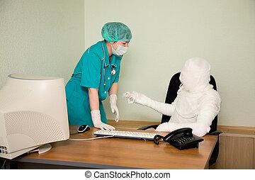 The bandaged boss and nurse