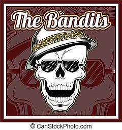 the bandits skull wearing cap hand drawing vector