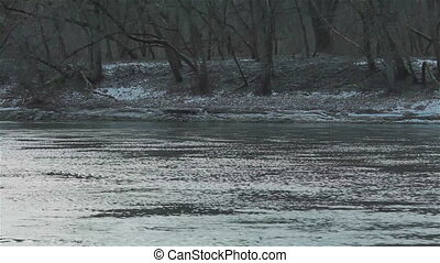 The bank of a fast flowing river