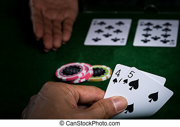In blackjack the player is betting card in hand against that of the dealer and The banker surrender when an opponent with superior points win in card game.