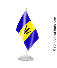 The Barbados flag. Table Flag. Isolated on white.