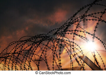 the barbed wire with clouds and sunblades