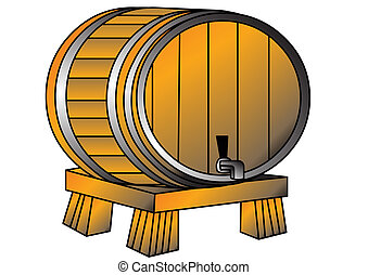 The Barrel with wine or beer on tray, is insulated on white.