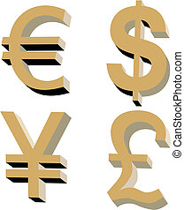 The basic world currencies - Perfectly executed image of the...
