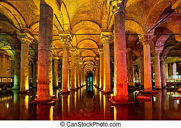 The Basilica Cistern interior in Istanbul