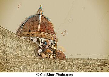 The Basilica di Santa Maria del Fiore, Florence, Italy - The...