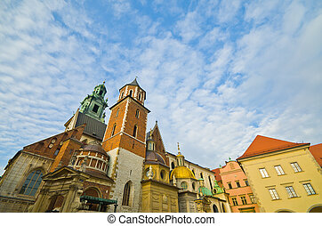 the Basilica of St Stanislaw and Vaclav or Wawel Cathedral on Wawel Hill in Krakow, Poland