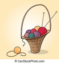 The basket with balls of yarn - Cartoon illustration of the...
