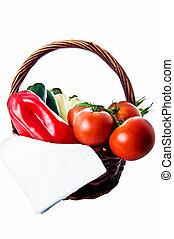 basket with vegetables