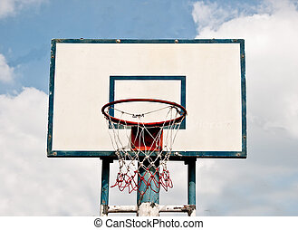 The Basketball court on blue sky background