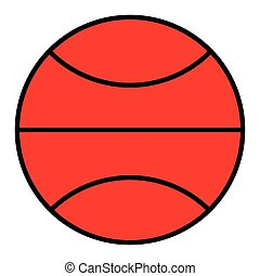 The basketball in the flat style icon.