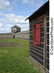 The Bastion from the wood working house at Fort Vancouver NHS