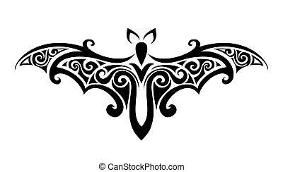 the bat. Balck and white vector illustration.