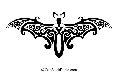 the bat. Balck and white vector illustration.