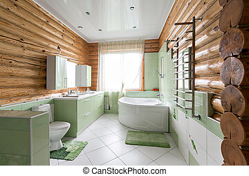 The bathroom in a rustic log cabin, in the mountains. with a beautiful interior. house of pine logs