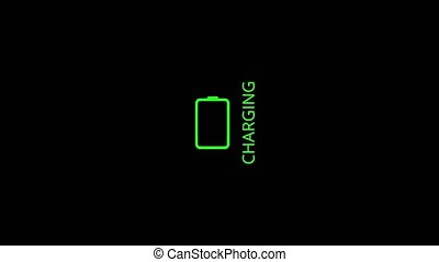 The battery is charging on a black background, the battery charging progress indicator. Battery charge icon is on and flashing