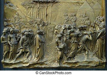 The Battistero gilded bronze doors Florence Italy.