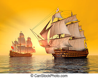 The Battle of Trafalgar - Computer generated 3D illustration...