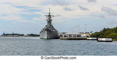 The Battleship USS Missouri at anchor in Pearl Harbor, ...