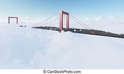 The bay bridge sunrise above clouds